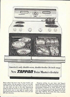 1955 Tappan Twin Master Electric Range Double Oven & Broiler Ad