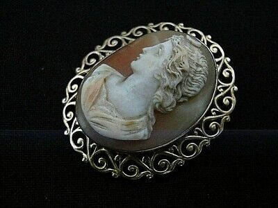 Antique Vintage 14k  Yellow Gold  High Relief Shell  Cameo Pin Brooch Pendant