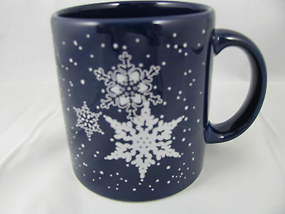 Silver Snowflakes on Blue Mug 12oz Waechtersbach Germany New