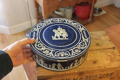 Vintage Large Dark Blue & White Biscuit Tin – Wedgwood / Classical / Cherubs