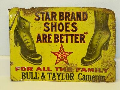 Vintage Advertising Sign Star Brand Shoes, Early Original, Bull & Taylor