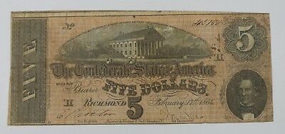 BARGAIN US Confederate Currency February 17th,1864 $5 FINE T-69
