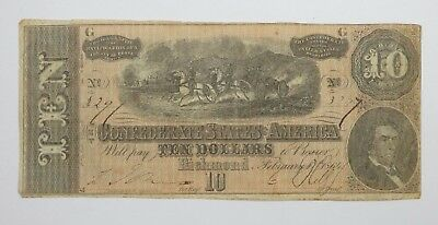 BARGAIN US Confederate Currency Dated February 17th,1864 $10 FINE T-68