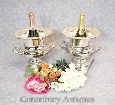 Pair Silver Plate Urns - Wine Champagne Cooler Buckets