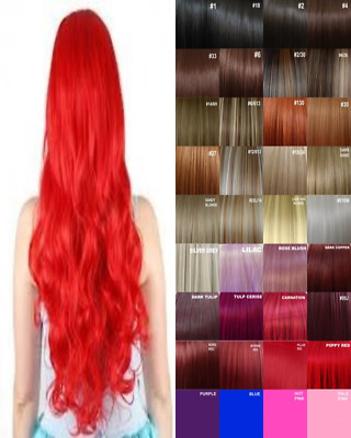 Clip in Hair Extension real Human Feel Red Dark Brown White Blonde Pink Blue