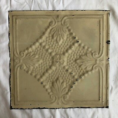 1890's 12 x 12 Antique Tin Ceiling Tile Ivory Metal Reclaimed Anniversary 574-18