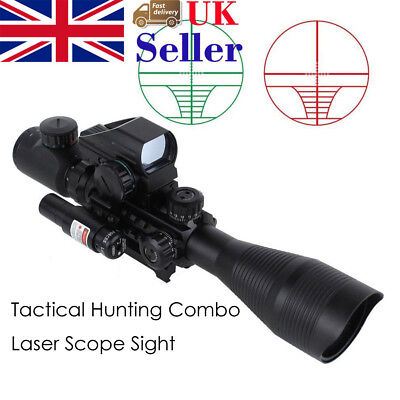 4-12X50EG Scope Green/Red Illuminated Holographic Reticle Sight Red Laser Sight