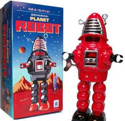 "Planet Robot Shiny Windup Schylling 9"" Toy Wind Up Retro Chrome Red or Black"