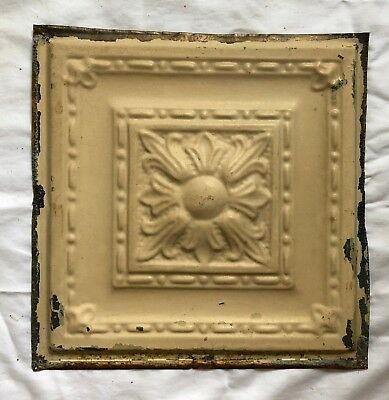 1890's 12 x 12 Antique Tin Ceiling Tile Tan Metal Reclaimed Anniversary 576-18