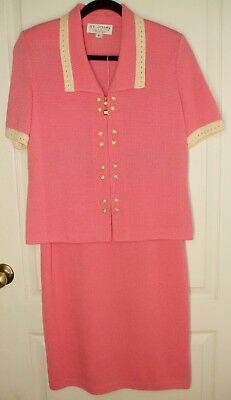 St. John Collection Marie Gray Pink Off White Santana Knit Skirt Suit 6 10