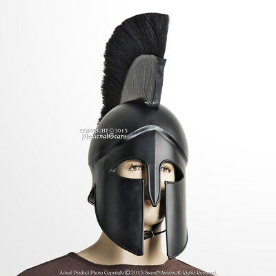 Black Wearable Greek Spartan Battle Helmet w/ Plume 20G Steel LARP Cosplay