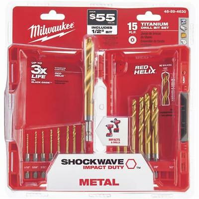 Milwaukee Shockwave Impact Duty Titanium Hex Shank Drill Bit Set (15-Piece)