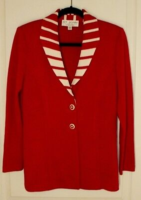St. John Collection by Marie Gray Red White Candy Cane Stripe Jacket Blazer sz 4