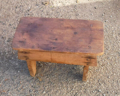 Small Antique Wooden Pine Skirted Stool : Rustic : Approx 33 x 17 x 22cm