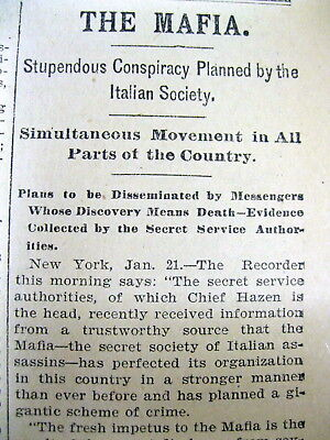 <1896 newspaper VERY EARLY ITALIAN MAFIA GANGSTER ACTIVITY IN the US Sicily