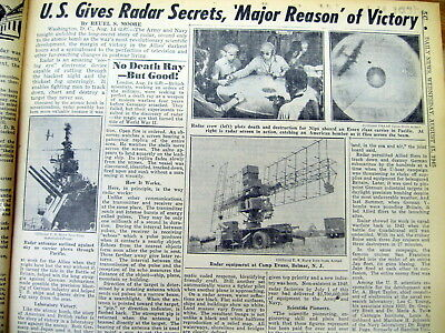 1945 NY Daily News newspaper WW II ENDS & US reveals secret of RADAR in winning