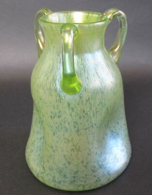 Authentic LOETZ PAPILLION Three-Handled Art Glass Vase c. 1910  Bohemian antique