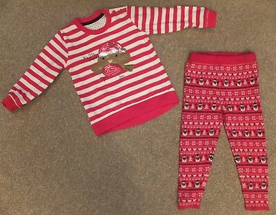 01c8321786735 Matalan girls red white robin Christmas top YD snowman leggings outfit  12-18 m