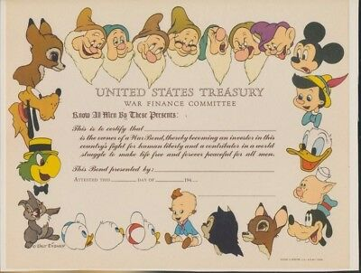 DISNEY- WW-2-1944-US Treasury War Finance Committee certificate-unused