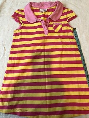 Hanna Andersson Girls Striped Polo Knit Dress Sz 100 US 4 Pink Yellow