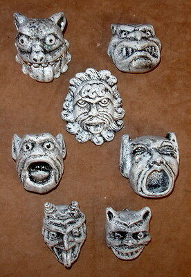 Vintage Set of 7 Gothic Medieval Green man Gargoyle Mythical Wall Plaque