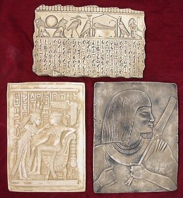 Clearance Lot of 3 Ancient Egyptian Wall Fragments King Tut, Isis, Horus, Mummy