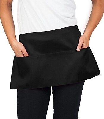 11 inch Black Waist Apron Pinny Smock Pinafore w Pockets Man Women Kitchen Chef