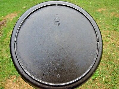 Vintage 1950's Lodge SK 8 Cast Iron Skillet 3 Notch Heat Ring Cleaned Seasoned