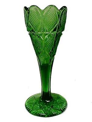 Green Early American Pattern Glass Vase Old EAPG Pressed Art Victorian