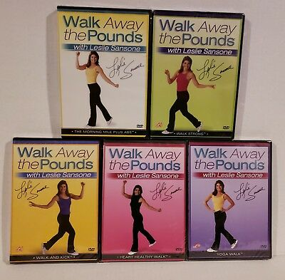 5 NEW Leslie Sansone Walk Away Pounds DVD Workouts +FREE Health Fitness Bonuses!