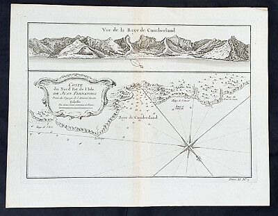 1755 J N Bellin Antique Map of Cumberland Bay, Robinson Crusoe Island, Chile