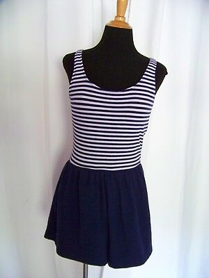 Vintage Nautical Sailor Swim Suit Playsuit 90s does 40s Size Medium