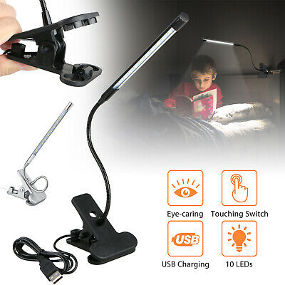 Clip-on USB 10 LED Light Dimmable Flexible Neck Reading Touch Desk Table Lamp