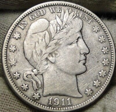 1911D Barber Half Dollar 50 Cents - Key Date 695,080 Minted, Nice Coin  (6454)