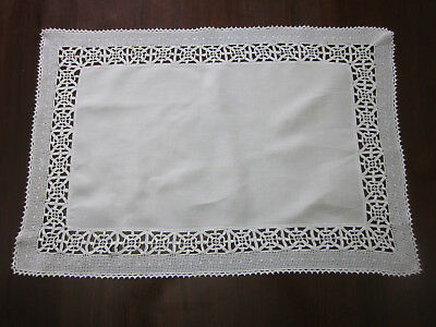 Beautifully Hand Worked White Crochet Lace Edged Tablecentre