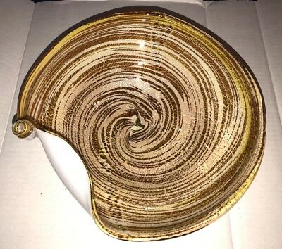 Original Red Label Vintage Murano Gold Optic Swirl Venetian Italy Art Glass Bowl