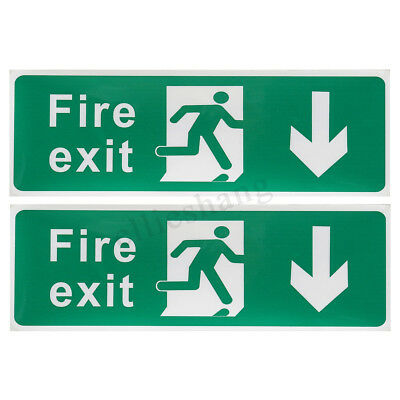 2x Emergency Fire Exit Stickers Safety Decal Sign Down Side Waterproof 300x100mm