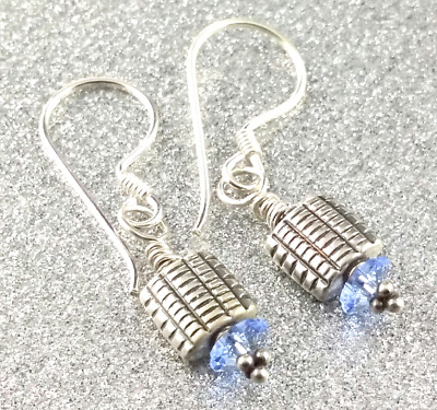 Light Sapphire Crystal Unique Handcrafted OOAK Sterling Silver Earrings (27)