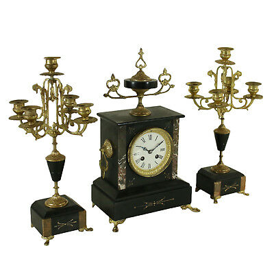 Mantel Triptych Gilded Bronze Black Marble France Second Half of 1800s