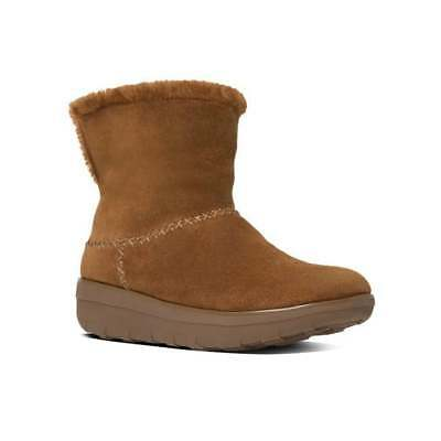 FitFlop™ MUKLUK SHORTY™ II Ladies Suede Warm Sheepskin Lined Boots Chestnut Tan