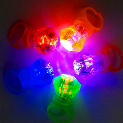 10PCS Flashing LED Ring Light Up Toys Finger Rings Party Favors Concert Kids Toy