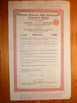 GB: British Dominions Land Settlement Corp., Debenture 100 Pfund, 1925*