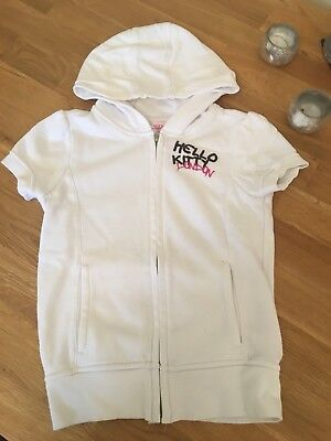 Girls M&S Hello Kitty Sleeveless Hoodie Cardigan Top Age 8 Years Free P&P
