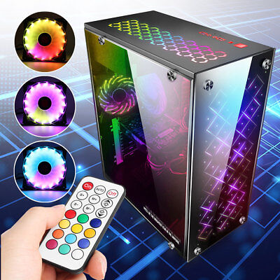 Gaming Computer PC Case ATX Mid Tower USB 3.0 & 3 120mm RGB Light Cooling Fans
