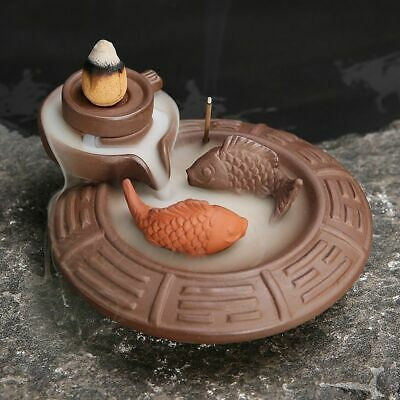 AU 2 Fish Ceramic Backflow Incense Burner Smoke Cones Holder Sticks Censer Clay