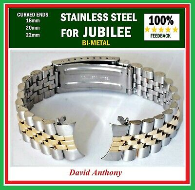 CHOOSE 18mm 20mm OR 22mm For JUBILEE LINK, CURVED ENDS, WATCH BRACELET, QUALITY!