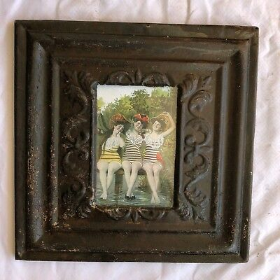 """1890's reclaimed antique ceiling tin picture frame 4"""" x 6"""" brown rust 593-18"""