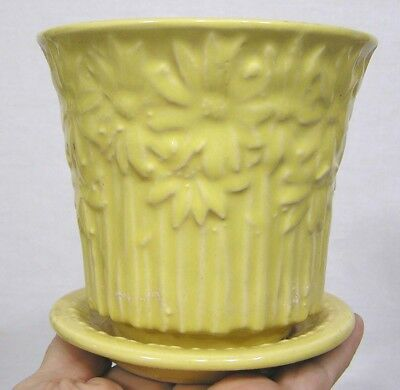Vintage McCoy Pottery Yellow Daisy Line Flower Pot and Saucer 1950s