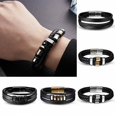 Men Punk Leather Bracelet Charm Bangle Cuff Bracelet Magnetic Clasp Gift Party