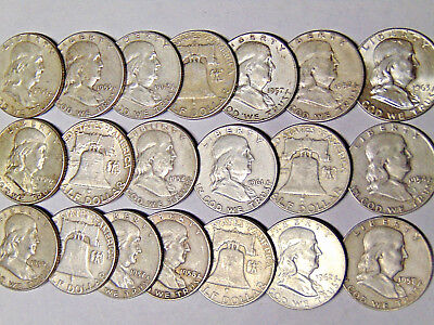 Roll of 20 Franklin Silver Half Dollars $10 Face Value 90% Silver Coins